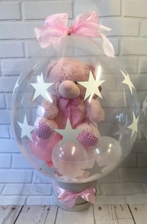 Baby Girl Teddy In Balloon