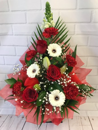 Red & White Frontal Arrangement